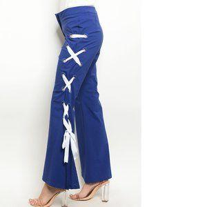 Blue Nylon Premium Lace Up Wide Leg Pants